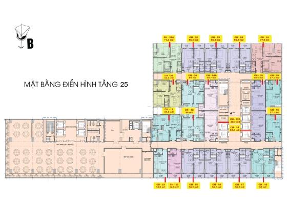 Mặt bằng tầng 25 căn hộ Central Coast Đà Nẵng