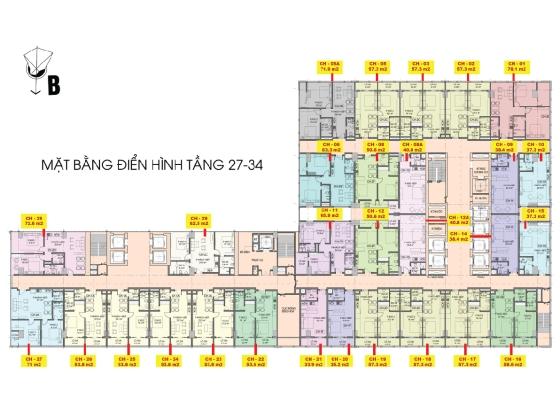 Mặt bằng tầng 27 đến 34 căn hộ Central Coast