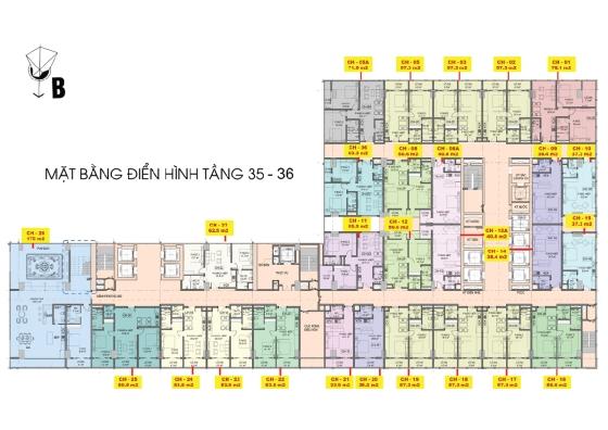 Mặt bằng tầng 35 đến 36 căn hộ Central Coast